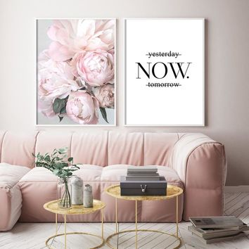Posters Blush Peony Letter Cuadros Nordic Poster And Prints Canvas Painting Wall Art Flower Pictures For Living Room decoration