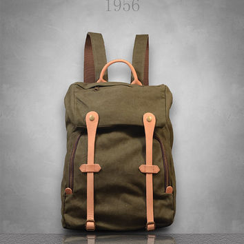 New Genuine Leather and Canvas Backpack Rucksack Bag Womens girls boys mens unisex