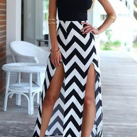 Chevron Print Spaghetti Strap Double Front Slits Maxi Dress