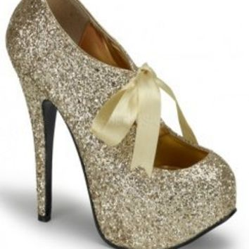 Gold Glitter Satin Lace Up Ribbon Platform Pump Heels