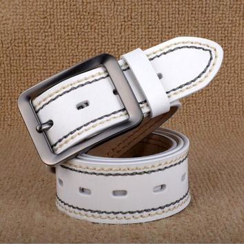 Pin Buckle Genuine Leather Men Jeans