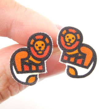 Small Lion Animal Illustration Stud Earrings | Handmade Shrink Plastic
