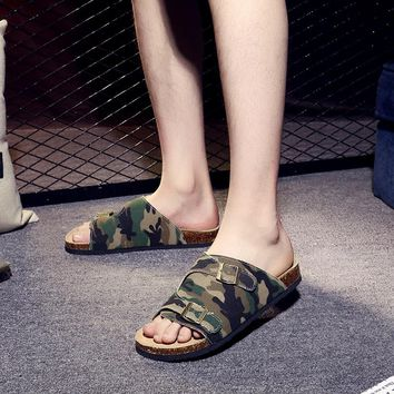Camouflage Cool Slippers Male Denim Cloth Big Size Beach Shoes Flat Slippers Male Slippers Fashion Summer Cork Shoes