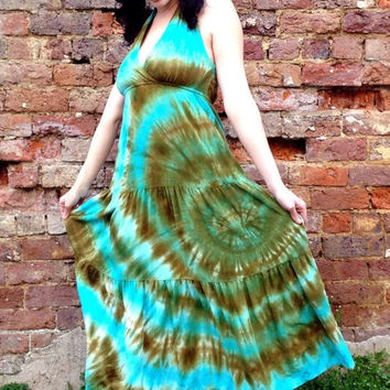 Aqua and Moss Green Tie-dye Halter Summer Beach Dress, Women's Sizes XS-M