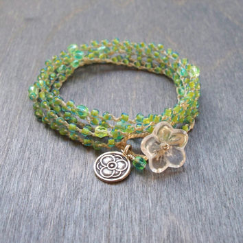 Crisp green crochet multi wrap bracelet, layering necklace, glass bead jewellery, hippie beach jewellery,