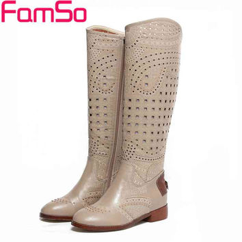 2017 Europe  Summer Boots Cut-outs Designer  Female Knee High Boots White Khaki Women's Genuine Leather Boots Sandals SBT3464