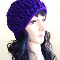 Purple Crochet Skull Cap Hat- Unisex -Adult/Teen/Women