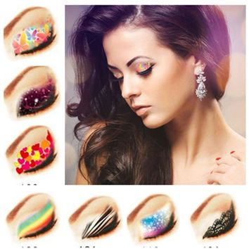 4pcs/lot Temporary Eye Tattoo Water Transfer Eyeliner Party Eyeshadow Sticker Beauty Cosmetic Designs