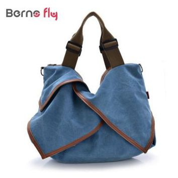 Casual canvas shopping bag woman patchwork hobo shoulder messenger bags extra large tote bag for ladies retro vintage handbag