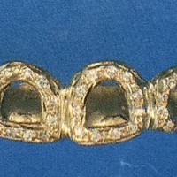 14k gold overlay removable Gold Teeth Grillz Grills caps 6 teeth with 25 cz stone /v2