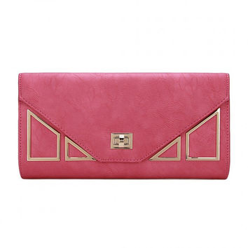 Geo Metal Leather-look Clutch Bag in Fuchsia with Shoulder Strap