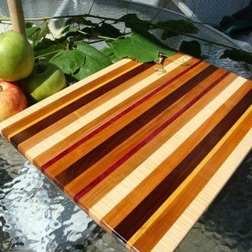 Handmade Extra Large Wood Cutting Board - The Awesome Cutting Board - Bloodwood & Flame Maple