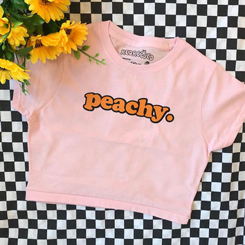 Peachy ∘ Crop Top ∘ Unisex ∘ Kawaii ∘ Grunge ∘ Pastel Pink Blue Yellow ∘ Tumblr ∘ Instagram