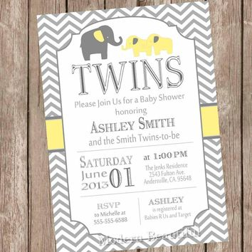 Twins Elephant Baby Shower Invitation - Gender Neutral  - Yellow and Gray, Baby Shower Invitation, twin baby shower invitation, yte1
