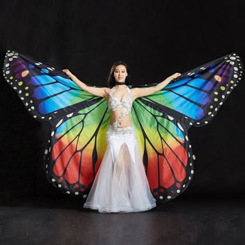2017 Performance Women Dancewear Stage Props Polyester Cape Cloak Dance Fairy Wing Butterfly Wings for Belly Dance