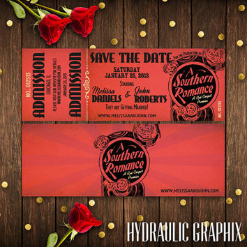 Hollywood Wedding Invitation, Red Carpet Wedding Theme, Movie Theater Ticket Wedding Save the Date, Southern Wedding, Printable Invitation