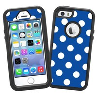 """White Polka Dot on Royal Blue """"Protective Decal Skin"""" for OtterBox Defender iPhone 5s Case"""