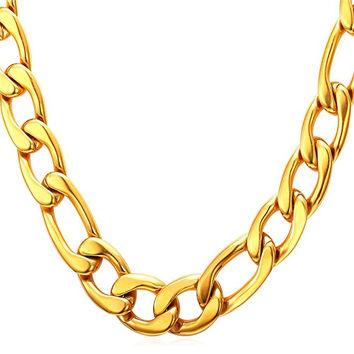 "12MM Men Necklace 18K Yellow Gold Plated Stainless Steel Figaro Chain  [18"", 22"", 26"", 28"", 30""]"