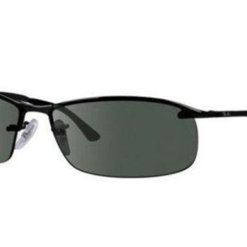 Kalete New Ray ban sunglasses RB3183 W3339 63 Black Sporty Wrap Grey Polarized