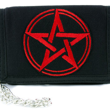 Red Wicca Pentagram Tri-fold Wallet w/ Chain Alternative Clothing Witchcraft Mother Earth