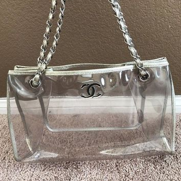 Chanel Plastic Tote Bag With Silver Leather Trim And Chain Handles