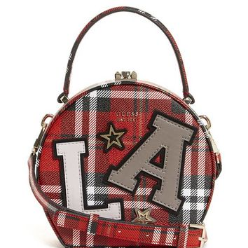 Lizzy Plaid-Print Round Mini Satchel at Guess