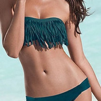 New Emerald Green fringe padded bikini top and bottom