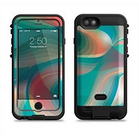 The Vivid Turquoise 3D Wave Pattern Apple iPhone 6/6s LifeProof Fre POWER Case Skin Set