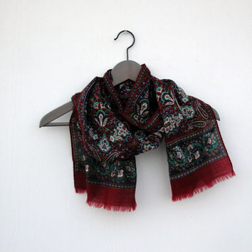 Vintage 100% Wool Paisley Scarf in Cool Hues of Oxblood and Purple