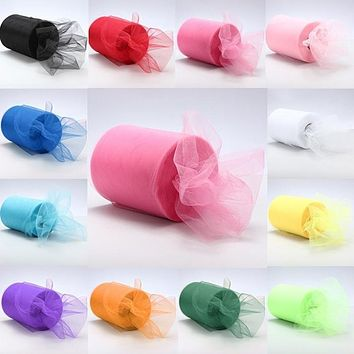 Sheer Crystal Organza tulle DIY Wedding Decoration Tulle Roll For Table Runner Decoration or New year decoration 22M*15CM 8Z