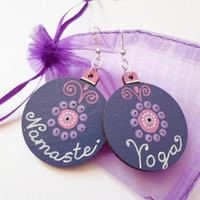 Namaste Yoga Earrings Jewelry, Chakra Mandala Earrings, Purple wooden earrings, Dangle Drop earrings, Bohemian Earrings Dot art Yoga Jewelry