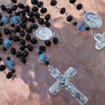 Matching Set Rosary and Chaplet Jet Black Gem Cut Rondelle with Transparent Blue and Pink Roses