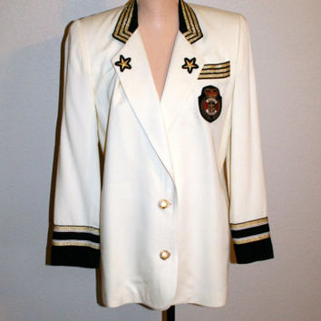 Vintage 80s Womens Jacket Large Nautical Cruise Resort Wear Military Vacation Clothing Crest Blazer FREE SHIPPING Medium Women Clothing