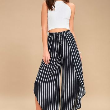 Napoleon Navy Blue and White Striped Wide-Legs Pants