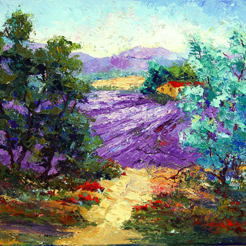 Looking Through to the Lavender Provence - Impressionist Landscape Palette Knife Oil painting, 16x13 inch