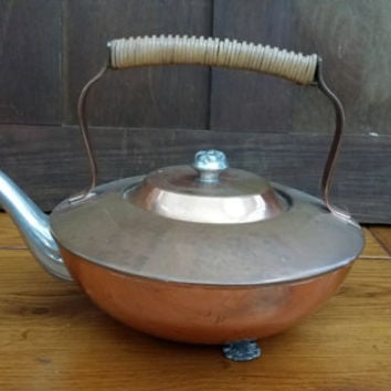 Vintage Venetian Copper Footed Tea Pot Kettle Silver Toned Spout Woven Basket Handle