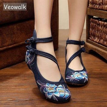 Veowalk Plus Size 41 Fashion Spring Women's Shoes Chinese Casual Flats For Women Flower Embroidered Mary Janes Walking Shoes