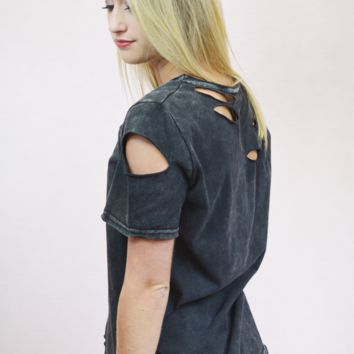 through the ringer distressed top - charcoal