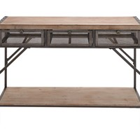 Benzara Perfect Three Drawer Wood Metal Console Table