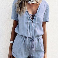 Blue Lace Up Drawstring Waist Playsuit