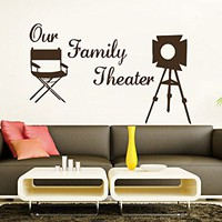 Wall Decals Quotes Vinyl Sticker Decal Quote Our Family Theater Movie Camera Director Film Cinema Filming Phrase Home Decor Art Design Interior NS725
