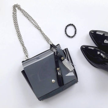 Minimal grey and black bag with chain and genuine leather strap, unique bag, gift for her, minimal lover, gft for minimalist, glossy PVC bag