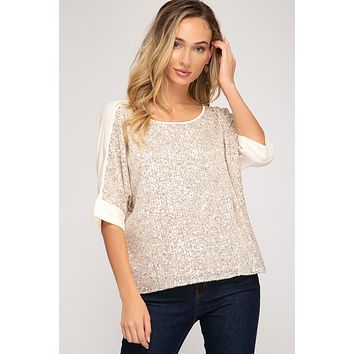 3/4 Batwing Sleeve Sequin Top - Light Gold  ONLY 1 L LEFT