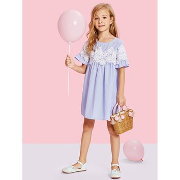 Blue Lace Appliques Ruffle Smock Dress