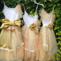 Junior Bridesmaid Peach and Gold gown