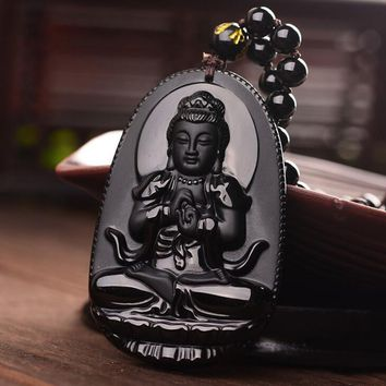 Natural Black Obsidian Carved Buddha Lucky Amulet Pendant Necklace Buddha Statue  Halloween For Women Men pendants 48mm*32mm