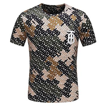 BURBERRY Fashion Men Casual Personality Print Round Collar T-Shirt Top Tee