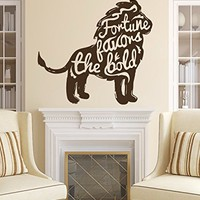 Wall Decals Quote Motivation Fortune Favors The Bold Decal Lion Vinyl Sticker Family Bedroom Nursery Baby Room Home Decor Art Murals Office Ms574