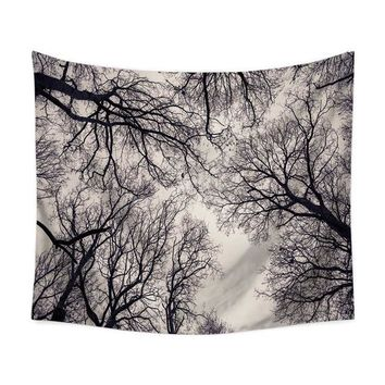 Cloudy Beige Forest Tapestry