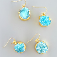 Aqua Stud Druzy Earrings